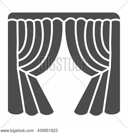 Silk Stage Curtains Solid Icon, Theater Concept, Velvet Drapes Vector Sign On White Background, Glyp