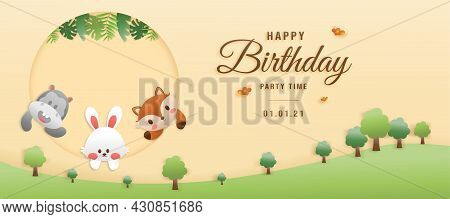 Cute Birthday Greeting Card. Jungle Animals Celebrate Children's Birthdays And Template Invitation P