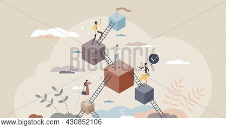 Leveling Up And Career Development With Progress Stairs Tiny Person Concept. Skills And Professional