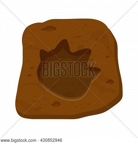 Dinosaur Fossil, Paw Print, Reptile Foot Trail In Cartoon Style Isolated On White Background. Archae
