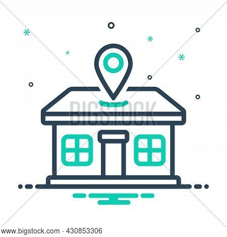 Mix Icon For Address Location Home Abode Direction Domicile Dwelling Lodging Whereabouts