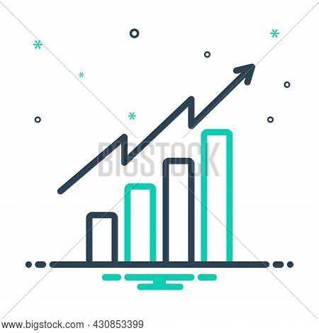 Mix Icon For Tendency Analytics Barchart Graph Increase Rise Enhancement Propensity Inclination