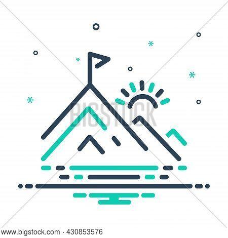 Mix Icon For Peak Pinnacle Vertex Braid Hill Mountain Flag Achievement Goal Winner Motivation Sun