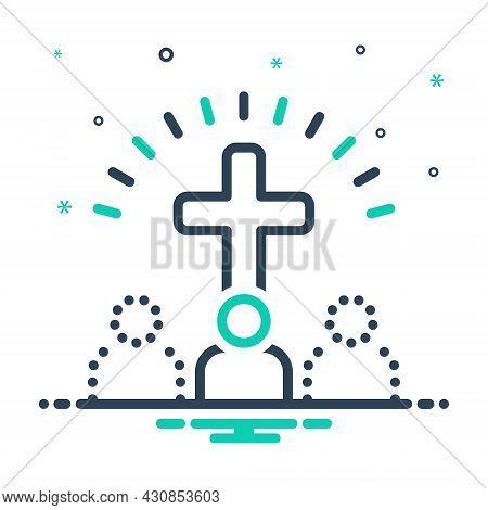 Mix Icon For Belief Faith Trust Cross Worship Homage Mythology Bible Catholic Church Religion Ritual