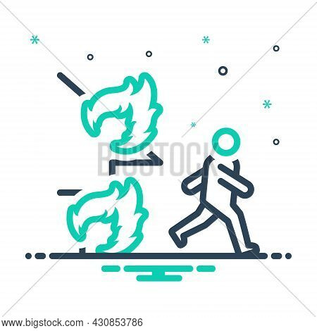 Mix Icon For Emergency Climacteric Exigency Fire Rescue Away Danger Burning