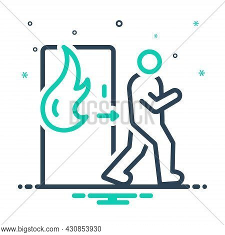 Mix Icon For Emergency Exit Evacuation Safe Climacteric Exigency Fire Rescue Away Danger Burning
