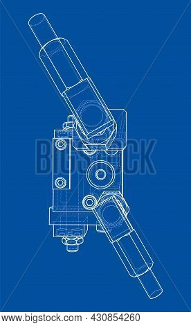 Abstract Industry Object Concept. Vector Rendering Of 3d. Wire-frame Style. The Layers Of Visible An