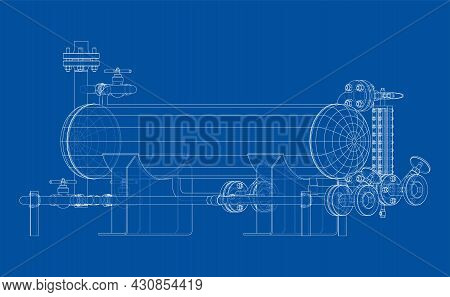 Industrial Tank With Valves. Vector Rendering Of 3d. Wire-frame Style. The Layers Of Visible And Inv