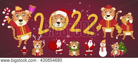 2022 Cute Tiger And Santa Decorate The Christmas Tree. Congratulatory Banner With Chinese New Year 2