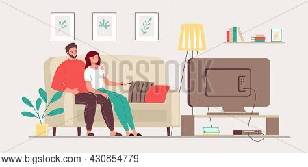 Vector Illustration Married Couple Watching Tv. Happy Family Sitting On Sofa At Home