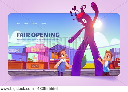 Fair Opening Cartoon Landing Page. Kids At Outdoor Market With Air Waky Man, Stalls, Booths And Kios