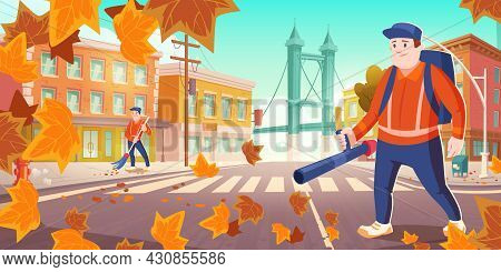 Urban Sanitary Service Works. Janitors Street Cleaners Sweeping Dust And Blowing Out Fallen Leaves O