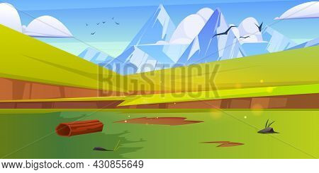 Summer Landscape With Green Meadows And White Mountains On Horizon. Vector Cartoon Illustration Of V