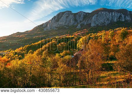 Rocky Formation In Apuseni Mountains At Sunset. Gorgeous Autumn Landscape In Evening Light. Trees On