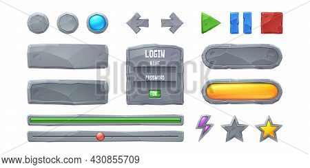 Set Progress Bars And Game Buttons Ui Or Gui Design Elements. Cartoon Interface Of Stone Texture. Me