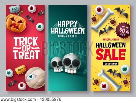 Halloween Sale Vector Poster Set. Halloween Discount Price Offer With Cute And Scary Emoji Character