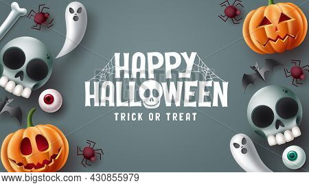 Happy Halloween Text Vector Design. Halloween Trick Or Treat In Gray Space Background With Scary, Sp