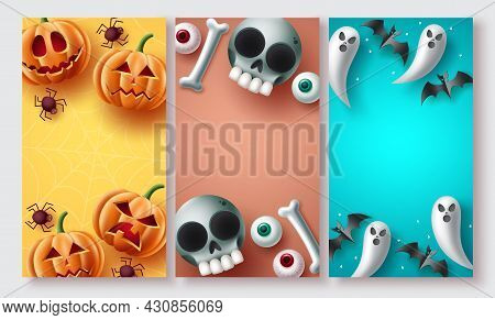 Halloween Poster Set Vector Design. Halloween Background Collection With Cute, Creepy And Scary Masc