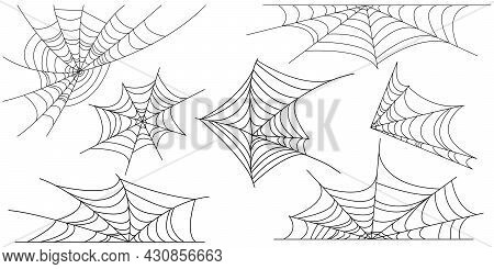 Set Of Outline Spider Web For Halloween. Vector Halloween Symbol Isolated On White Background