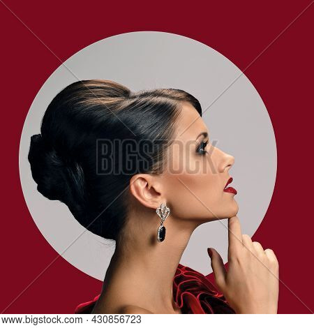 Side View Photo Of Beautiful Glamour Woman Wearing Trendy Evening Jewelry, Red Background With Circu