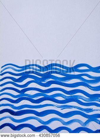 Abstract Watercolor Blue Vertical Background With Wavy Lines And Space For Text