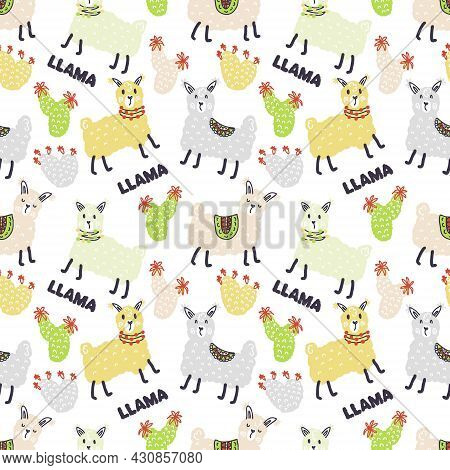 Multicolor Seamless Pattern Of Lamas, Cactuses And Text Llama. Design For T-shirt, Textile And Print