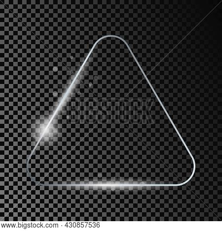 Silver Glowing Rounded Triangle Frame With Sparkles Isolated On Dark Transparent Background. Shiny F