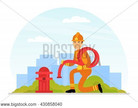 Firefighter In Orange Uniform And Protective Helmet Near Fire Hydrant With Hose Vector Illustration