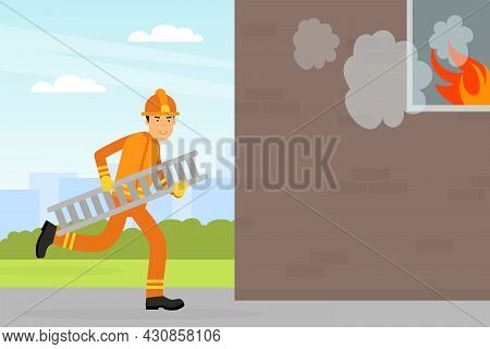 Firefighter In Orange Uniform And Protective Helmet Running With Ladder To Burning House Vector Illu
