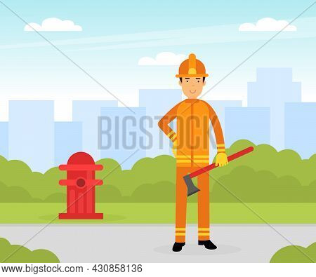 Firefighter In Orange Uniform And Protective Helmet Near Fire Hydrant With Hatchet Vector Illustrati