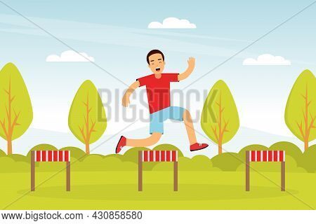 Young Man Character Hurdling In The Park Doing Sport And Physical Exercise Vector Illustration