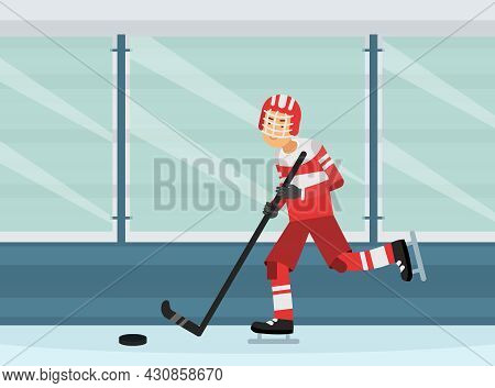 Young Man Character Playing Hockey Game On Ice Doing Sport And Physical Exercise Vector Illustration