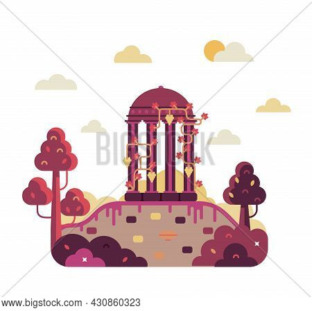 Colonade Covered With Grapes Stands On The Ruins Of An Ancient Civilization - Vector Cartoon Illustr