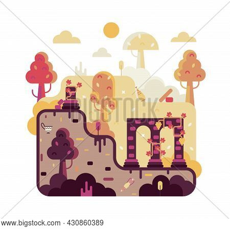 Vector Cartoon Square Illustration With Destroyed Walls Of The Ancient City, The Remains Of Civiliza