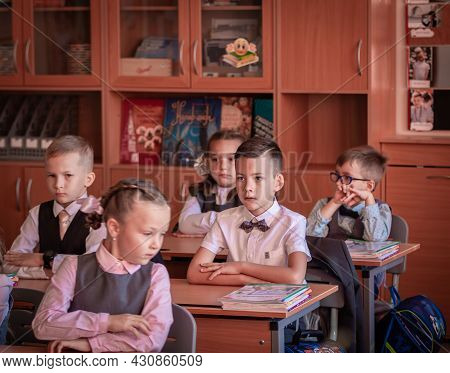 Children Sit At Their Desks In Class On September 1. Moscow, Russia, September 2, 2019
