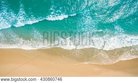 Top View Aerial Image From Drone Of An Stunning Beautiful Sea Landscape Beach With Turquoise Water W