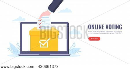 Online Voting Concept Flat Style Design Vector Illustration. Giant Hand Puts Ballot To The Urn On La