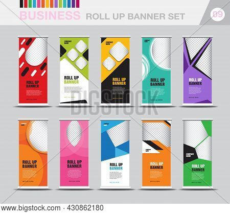 Business Roll Up Banner Template Set, Modern Exhibition Advertising, Roll Up Banner Design, Stand, P
