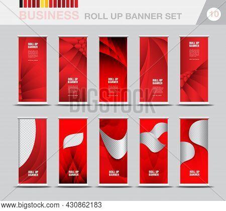 Business Roll Up Banner Template Set, Modern Exhibition Advertising, Roll Up Banner Design, Web Bann