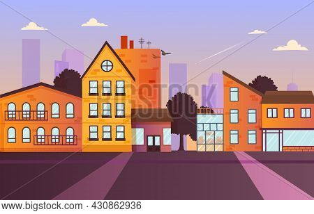 Urban Landscape Concept. Facades Of Houses With Storefronts And Balconies. Wide Street With Apartmen