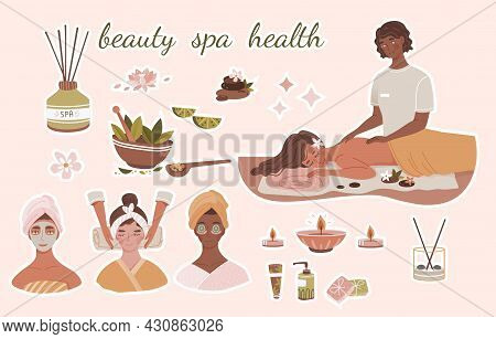 Spa Center Service Set. Stickers With Procedures. Massage, Mask, Aromatherapy And Skin Cleansing. De