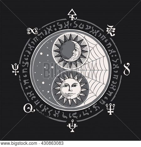 Vector Yin Yang Symbol With Sun, Moon And Magic Signs, Written In A Circle On Dark Background. Hand-