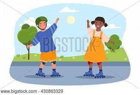 Children Play On Roller Skates. Two Friends Walking In Fresh Air. Rest In Park. Kids Ride. Wonderful
