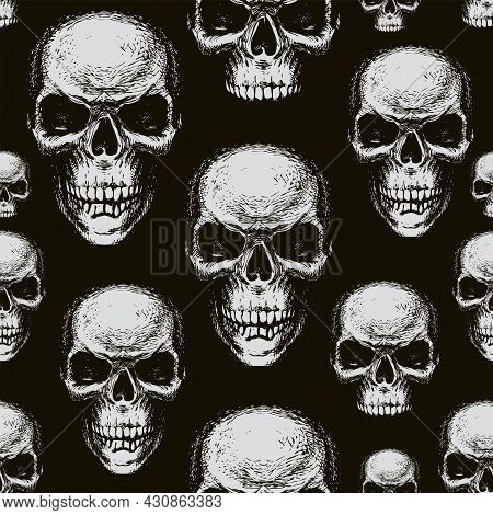 Seamless Pattern With Hand-drawn Human Skulls. Black And White Vector Background With Sinister Smili
