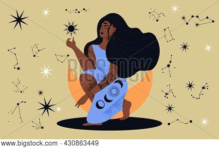 Mystic Exotic Woman. Pictures About Connection Between Man And Space. African American Girl Sit For