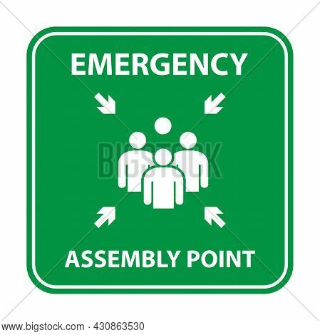 Emergency Assembly Point Sign, Gathering Point Signboard, Emergency Evacuation Vector For Graphic De