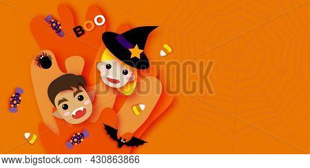 Cute Little Witch. Werewolf. Happy Halloween. Monsters Cartoon Paper Cut Style. Funny Trick Or Treat