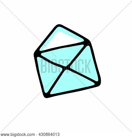 Doodle Mailing Envelope. Hand-drawn Open Letter Icon Isolated On White Background. Blue Sketch Messa