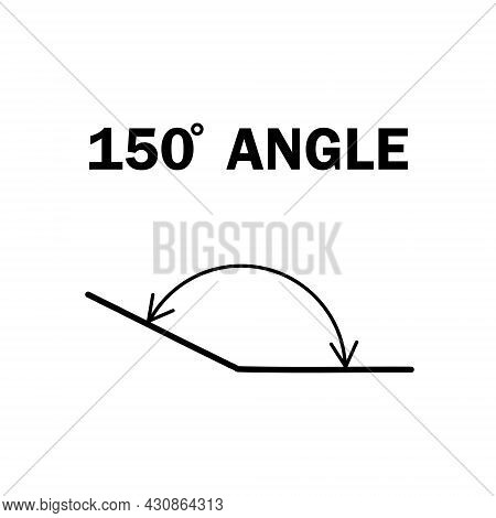 150 Degree Angle. Geometric Mathematical Angle With Arrow Vector Icon Isolated On White Background.