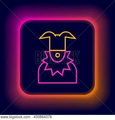 Glowing Neon Line Joker Head Icon Isolated On Black Background. Jester Sign. Colorful Outline Concep